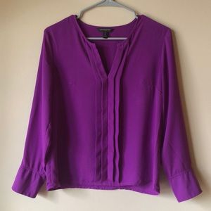 Pleated Front Long Sleeve Blouse